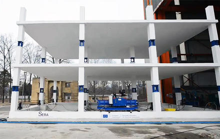 Building being tested at European Laboratory for Structural Assessment (ELSA)